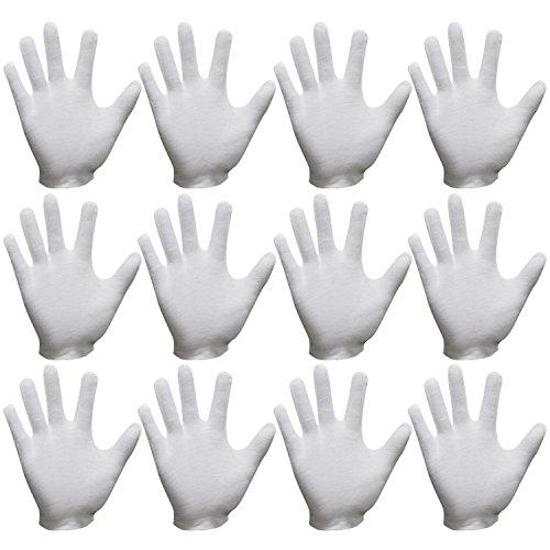 Sasairy 24 stuks van Box katoen handschoenen poedervrij voor gebruik buitenshuis met S/M/L/XL - wit (12 paar)