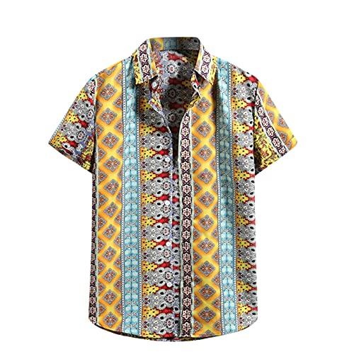 Camicetta Top Uomo Estate Moda Casual Camicia a Fiori Hawaiana T-Shirt Manica Corta (S,110giallo)