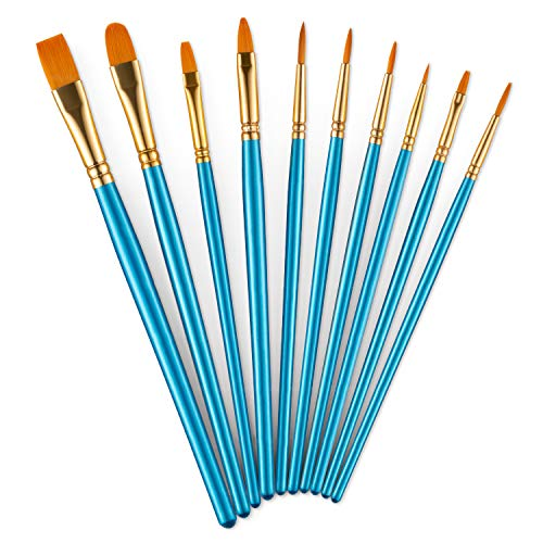 Acrylic Paint Brushes Set, 10pcs Round Pointed Nylon Hair Paint Brush Set Fine Tip Miniature Paintbrushes for Acrylic Watercolor Oil Painting Face Nail Model Craft Detailing Rock Art, Artist Pro Kits