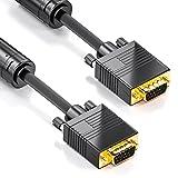 deleyCON 3,0m VGA Cavo 15pol - S-VGA Cavo per Monitor Innesto D-Sub 1080p Full HD Schermato Riparo da Pieghe Contatti Dorati - Nero