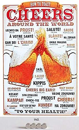 Generisch Cartel de Chapa de 20 x 30 cm, Curvado, Incluye 4 imanes Cheers Around The World Prost Cerveza Salute Skol Metal Deko Regalo Cartel