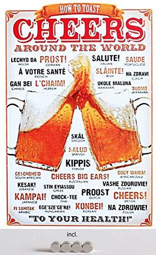Metalen bord 20 x 30 cm gebogen, incl. 4 magneten Cheers Around The World Prost Bier Salute Skol metaal decoratief geschenk bord