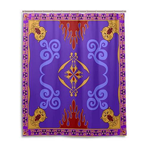 AdaCrazy Cortina de Ducha Magic Carpet de Aladdin Impresión 3D Baño de Tela de poliéster Recubierto Impermeable con 12 Ganchos 71 Pulgadas
