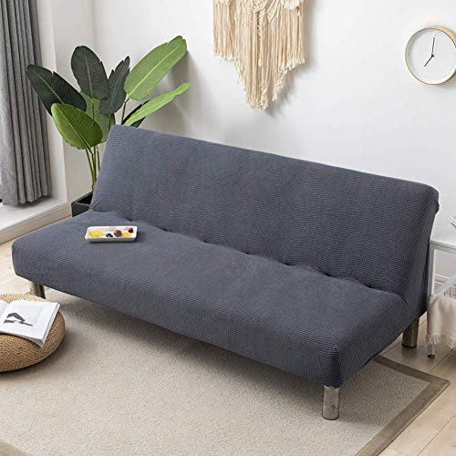 XHNXHN Funda para futón sin Brazos Funda elástica para sofá, sofá de Dos plazas Funda para sofá Cama, Funda de sofá de Jacquard de Spandex Protector Antideslizante para Muebles para Perros Gris OSC