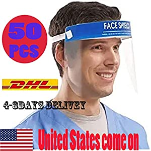 50/Pack Disposable Safety Face Shield Fluid Resistant Full Face Visor Protection