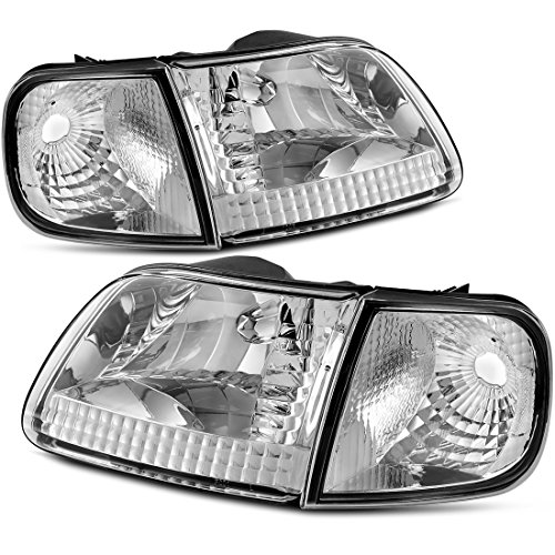 AUTOSAVER88 Headlight Assembly Compatible with 97-03 Ford F-150/97-02 Ford Expedition Pickup Headlamp Replacement,Chrome Housing Clear Lens