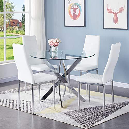 GOLDFAN Esstisch mit 4 Stühlen Moderner Esstisch Glas Rund Chrombeine für Esszimmer Büro Wohnzimmer, Weiß