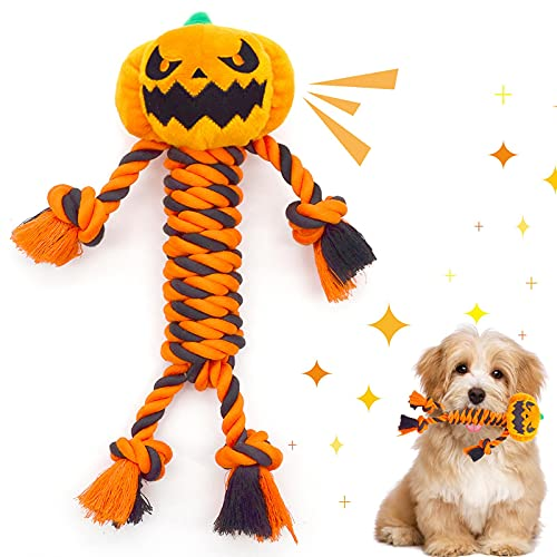 Lepawit Halloween Dog Toys Rope, Durable Cotton Rope Dog Toy Chew and Teeth Cleaning Dog Plush Squeaky Toys Interactive Tug of War Dog Toys Pumpkin