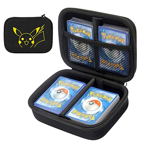 TPCY Cards Carrying Case Compatible with PM TCG Cards with Hand Strap, Card Holder Fits up to 400 Cards (Yellow)