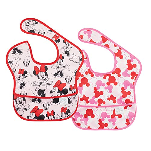 Bumkins Disney Minnie Mouse SuperBib, Baby Bib, Waterproof, Washable, Stain and Odor Resistant, 6-24 Months (Pack of 2) - Classic/Icon
