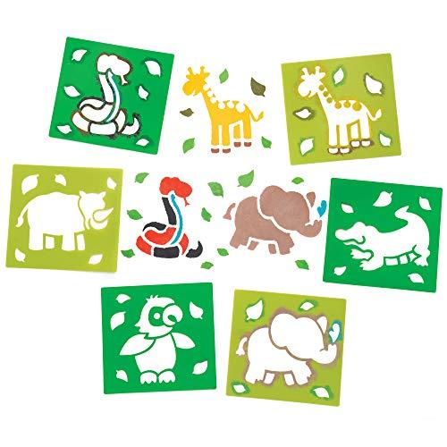 """Baker Ross Schablonen """"Dschungeltiere"""" für Kinder – für Bastelarbeiten und Dekorationen (6 Stück)"""