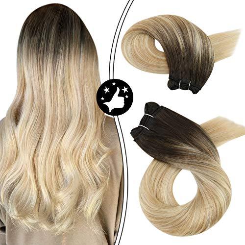 Moresoo 14 pouces Extension Tissage Naturel Blond Tissage Remy Hair #2 Brun Foncé à #27 Blond Fraise et #613 Bleach Blond Tissage Humain 100G