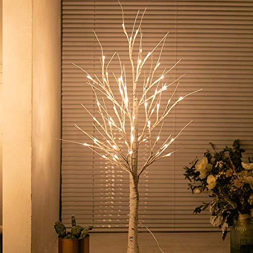 Lampada da terra a LED in betulla bianca, lampada ad albero con cavo di alimentazione USB, luce notturna bianca calda, regalo per feste di matrimonio soggiorno camera da letto, 160 cm(Size:160cm)