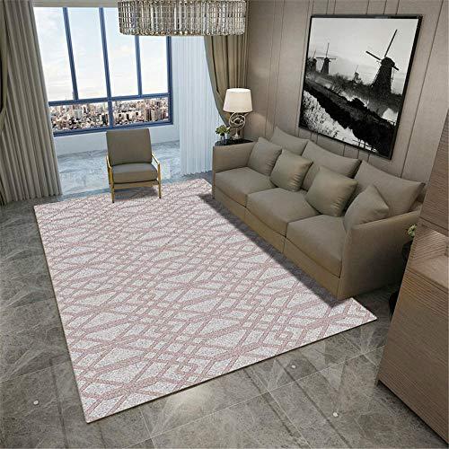Kunsen La alfombras Duradera La Alfombras Alfombra de Mesa de Centro de Sala de Estar de diseño de línea geométrica de Graffiti Gris Rosa Lavable Suave Suelo Alfombras 100 * 160cm