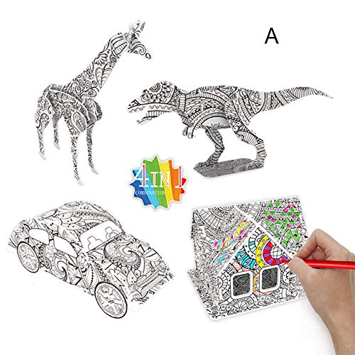 H87yC4ra 3D Graffiti Painting Set, DIY Three-Dimensional Architecture Model Kit Puzzle Toy Jigsaw Puzzles Animial Model Gift for Kids Children Self Assembly Arts and Crafts Set A*