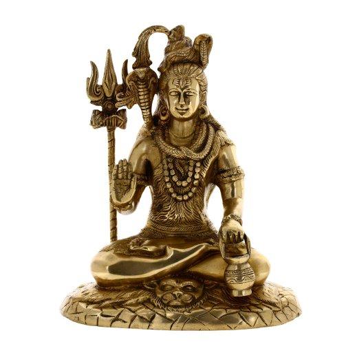 Shalinindia Dieu Hindou Assis Shiva Statue de Laiton