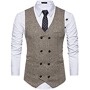 Mirecoo Men Slim Fit V Neck Double Breasted Tweed Business Casual Waistcoat Suit Vest:Hitspoker
