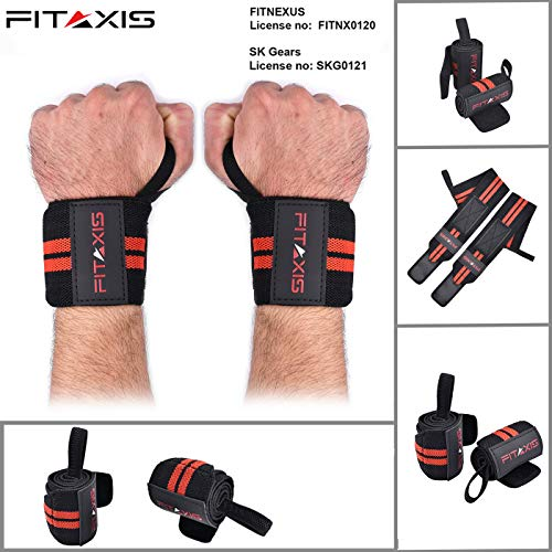 FITAXIS Muñequeras | Wrist Wraps/Bands for Gimnasio Fitness Crossfit Weightlifting para Hombres y Mujeres (Black/Red, 18')