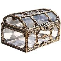 Toyvian Cofre del Tesoro Caja de Joyas de Recuerdo de Pirata Transparente Vintage Caja Decorativa de Metal para niños Favores de Fiesta de cumpleaños Pirata