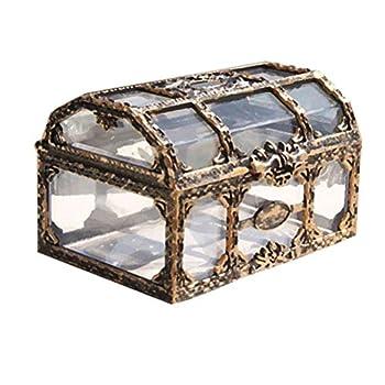 Toyvian Plastic Transparent Pirate Treasure Box with Crystal Gem Jewelry for Souenir