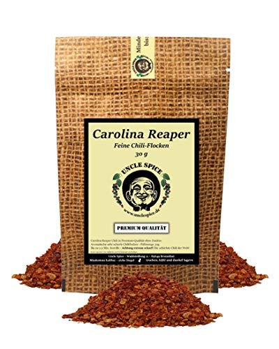 Uncle Spice Carolina Reaper Flocken- 30g schärfste Chili der Welt - feine Chiliflocken in Premiumqualität - GRINGO KILLER - Chilischoten in Flocken - 1.5 Mio Scoville - Achtung EXTREM SCHARF