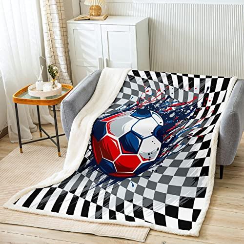 Manta de forro polar de color para juegos deportivos para adultos y jóvenes, manta de poliéster ligera a cuadros en 3D, color negro, blanco, a cuadros, para sofá, tamaño King (87 x 94 pulgadas)