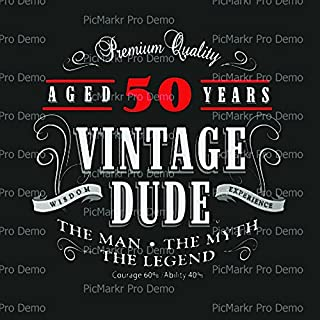 Vintage Dude 50th Birthday with Black Background Edible Icing Image for 1/4 sheet cake