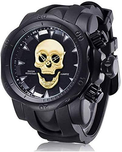 Lloow Reloj de Calavera con Personalidad para Hombre, Reloj de Cuarzo de Silicona con Esfera Grande, Reloj multifunción Smartwatches 2021,D