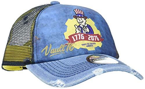 Fallout Vault 76 Vintage Trucker Cap Gorra de béisbol, Azul (Blue Blue), Talla única Unisex Adulto