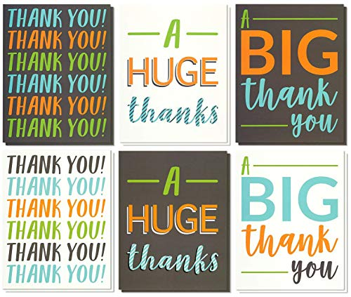 Hibery 60 Count Thank You Cards with Envelopes, Thank You Cards Notes, Wedding Baby Shower Thank You Cards Bulk with Envelopes and Stickers, Blank on the Inside for Teacher, Wedding and Other Occasion