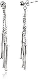 Sterling Silver Bead and Multi-Strand Chain & Bar Drop Dangle Earrings