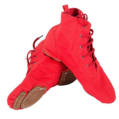 ELEAR® Unisex Erwachsene Kinder Reine weiche Canvas Toe Ballet Tanzschuhe Schnürschuhe Jazzschuh