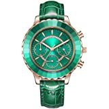 Women's Rose Gold Watch Analog Quartz Hazelnut Green Leather Band Casual Fashion Classic Ladies Wrist Watches