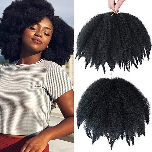 ALENTOO 3 Packs Marley Hair Short Afro Kinky Twist Crochet Hair Marley Hair for Twists 8 Inches Marley Twist Crochet Braids Synthetic Kinky Hair Extension(1B#)