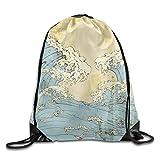 JHUIK Drawstring Bag Backpack,Ligero Plegable de gran capacidad Mochila con cordón japonés Ukiyoe Mochila Mochilas Bolsas de entrenamiento Gimnasio Saco para hombres y mujeres Viajes Casual Bolso de h