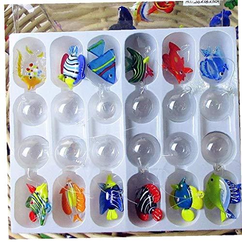Zonster Glasfische Schwimmdock - Aquarium Mini Fisch Figurine - Hand Geblasenem Glas Fisch-Lampe Arbeits Miniatur Fisch Geblasenem Glas Tierstatuen Zufälliger Stil