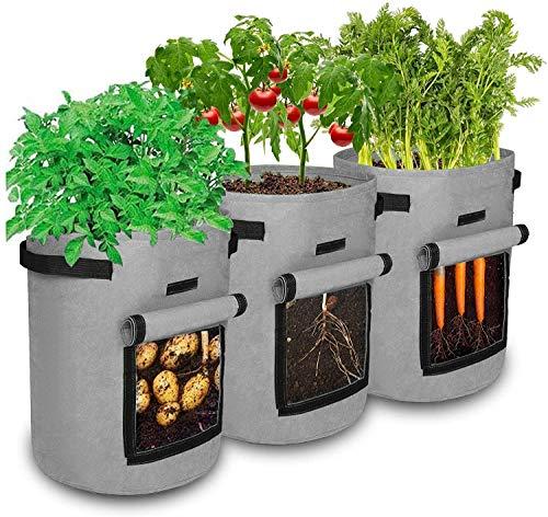 ASWT Bolsa de Cultivo de Patatas, Paquete de 3 Bolsas de Cultivo de Tela de aireación 5/7/10 para Verduras con Asas, Bolsas de Cultivo de Plantas de Tomate de jardín con Tela no Tejida,7 gallons