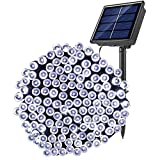 SOLARBABYソーラーストリングライト8モードクリスマスデコレーションソーラーストリングライト屋外防水200LEDソーラーフェアリーライトホーム芝生ガーデンウェディングテラスパーティーホリデー、クールホワイト