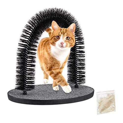 Relaxdays Rascador para Gatos, Arco Masajeador, Quita Pelos, Masaje Juguete Mascotas, 38 x 36 x 28,5 cm, Plástico, Negro