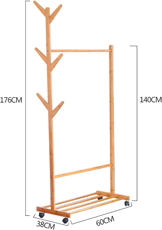 Standing Coat Racks Rolling Coat Rack Bamboo Garment Rack Coat Clothes Hanging Rail 1 Tiers 6 Hooks for shoes and Hat Rack (60cm, 70cm, 80cm, 100cm ) x 38 x 176 cm Optional (Size   60cm)