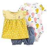Set di Abbigliamento per Neonate Maglietta a Maniche Corte in Cotone + Body + Pantaloncini 3 Pezzi Completini e Coordinati Abiti Estivi per Bambina, 12-18 Mesi
