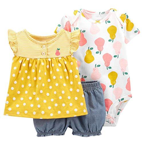 Conjunto de Ropa para Bebé Niñas Traje de 3 Piezas Camiseta de Algodón de Manga Corta + Body + Bermudas Trajes de Verano, 3-6 Meses