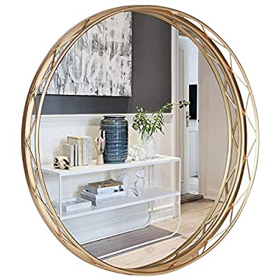 VVK Modern Large Round Mirror - Accent Mirror Gold, 24 Inch Round Wall Mirror, Gold Metal Framed Mirror for Home Decor, Bathroom, Living Rooms, Entryways