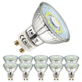 EACLL Bombillas LED GU10 6000K Blanco Frio 5W Fuente de Luz 495 Lúmenes Equivalente 50W Halógena. AC 230V Sin Parpadeo Focos, 120 ° Spotlight, Luz Diurna Blanca Fría Lámpara Reflectoras, 10 Pack