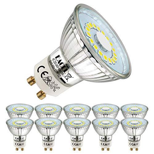 EACLL GU10 LED Kaltweiss 5W Leuchtmittel 495 Lumen 6000K Birnen kann Ersetzen 50W Halogen. AC 230V Kein Strobe Strahler, Abstrahlwinkel 120 ° Reflektor Lampen, Kaltweiß Licht Spotleuchten, 10 Pack