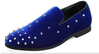 Dongxiong Simple and classic personalized slip-on loafers and therefore non-slip decorative shoes men's wild comfortable breathable beanie shoes (Color : Blue, Size : 47 EU)