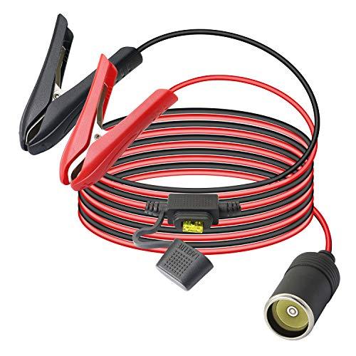 GELRHONR 12V/24V Batteria per auto Clip-on per presa accendisigari Cavo di prolunga adattatore femmina con fusibile 20A-5.9Ft