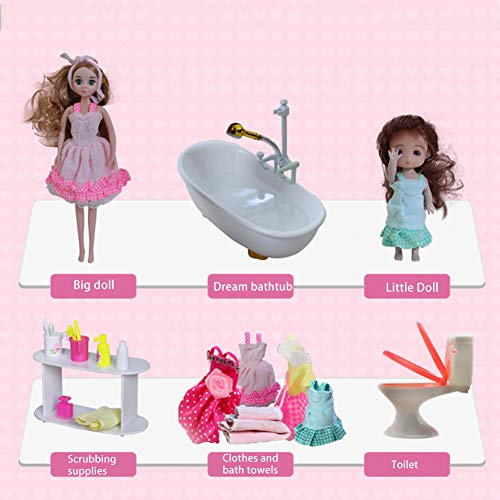 Glam Badmöbel Und Puppenset Puppenset Für Mädchen Baby Star Mädchen Spielzeug Chanel Barbie Puppe Traumbadezimmer Set Automatische Badewanne Geeignet Für 18 Zoll Puppen