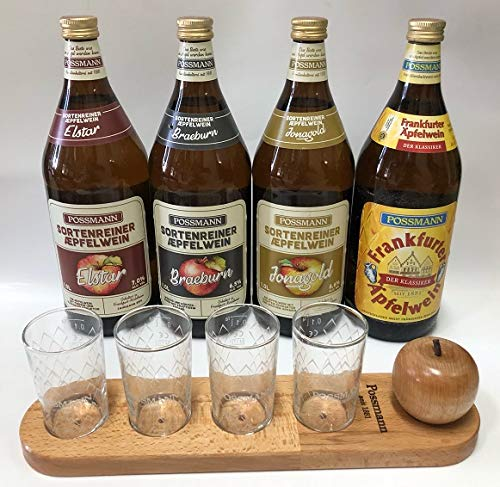 Possmann Apfelwein Geschenkeset Probierset 4 Apfelweinsorten Brett mit 4 Gläser je 0,1 Liter