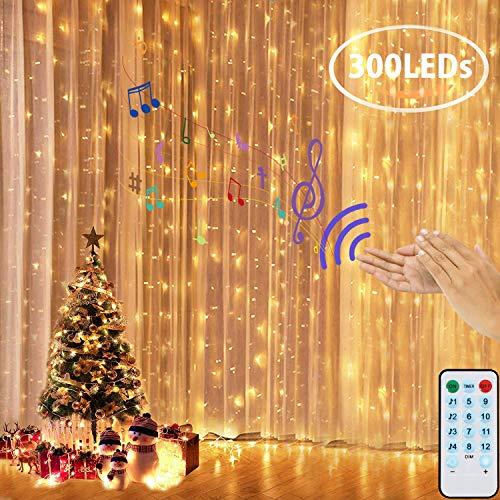 LEDGLE Tenda Luci LED, Tenda Luminosa 300 LED 3mx3m,4 modalità Musicali + 8 modalità di Luce Telecomando Luminosa Luci Stringa, IP44 Waterproof per Natale decorazioni Interni ed Esterni (Bianco Caldo)